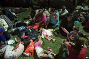 Displaced Iraqi Christians settle at St. Joseph Church in Irbil, northern Iraq, Aug. 7, 2014 / by Voice of America